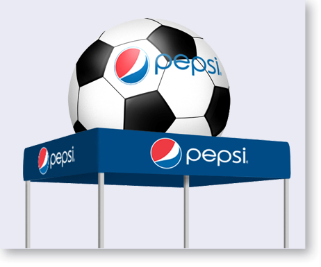 Custom Flat Tent w/Inflated Soccer Ball Topper.  sc 1 st  Alvimar Global & Tents - Pepsi Soccer Ball Tent - Alvimar Global